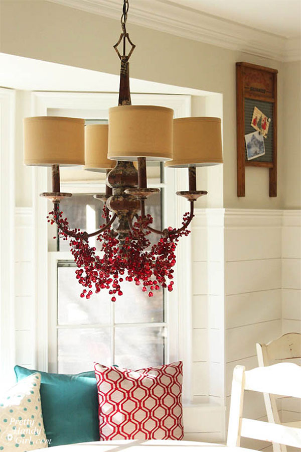 Rustic Red Christmas Berry Chandelier