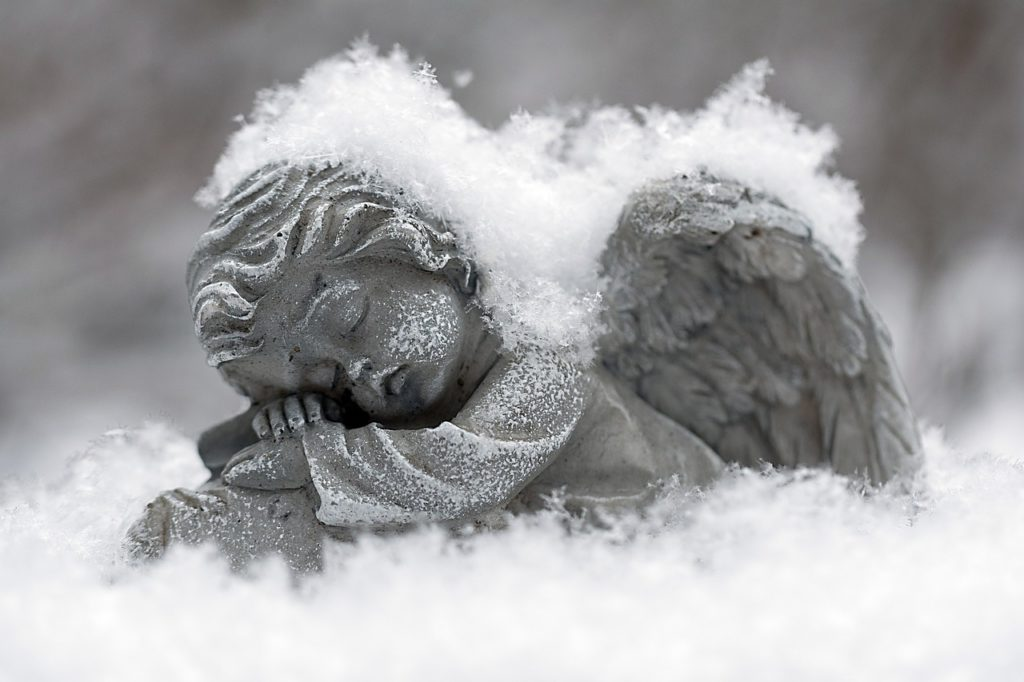 Frost Snow Covered Angel Winter Scene