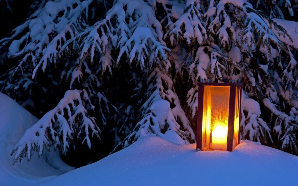 Lantern in Snowbank Winter Scene