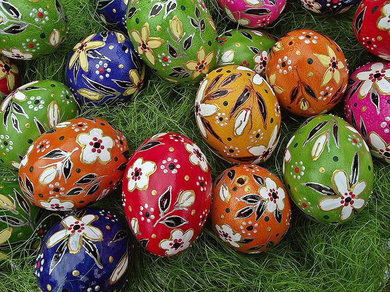 Beautiful Hand-Painted Floral Easter Eggs