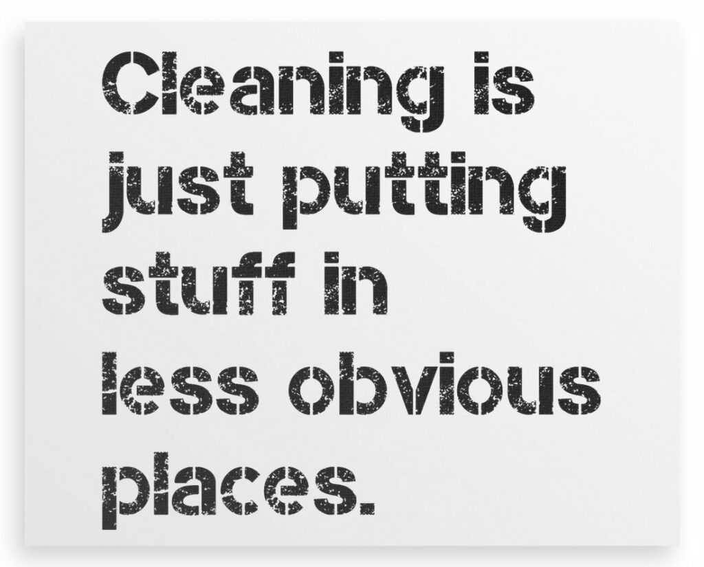 House Cleaning Meme | Cleaning is Just Putting Stuff in Less Obvious Places