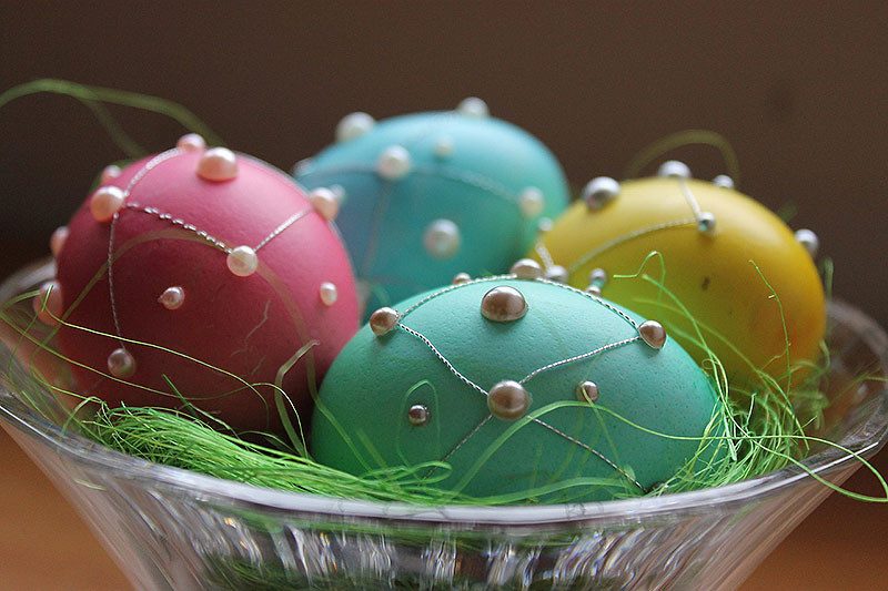 Painted and Jeweled Easter Eggs