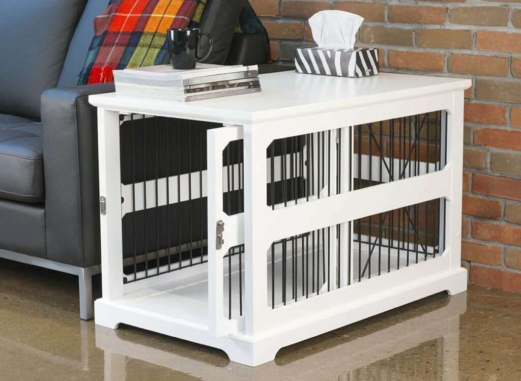 Slide Aside Decorative White Dog Crate End Table