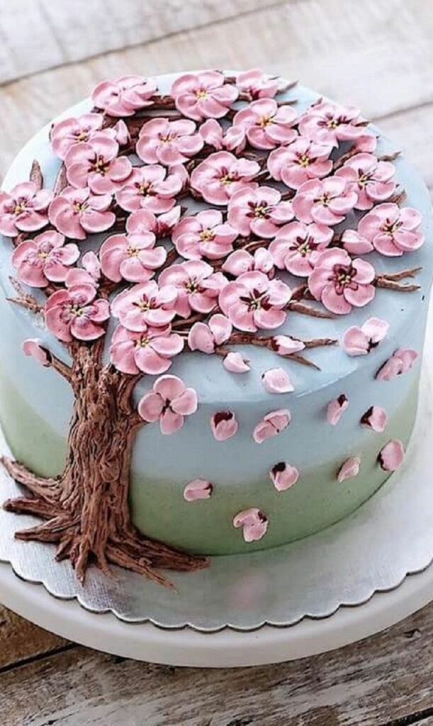Blossoming Cherry Tree Birthday Cake