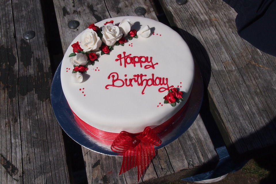 Classic Red & White Birthday Cake