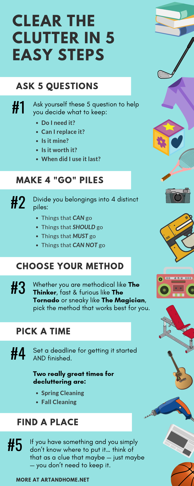 Clear the Clutter in 5 Easy Steps: A Home Decor Infographic