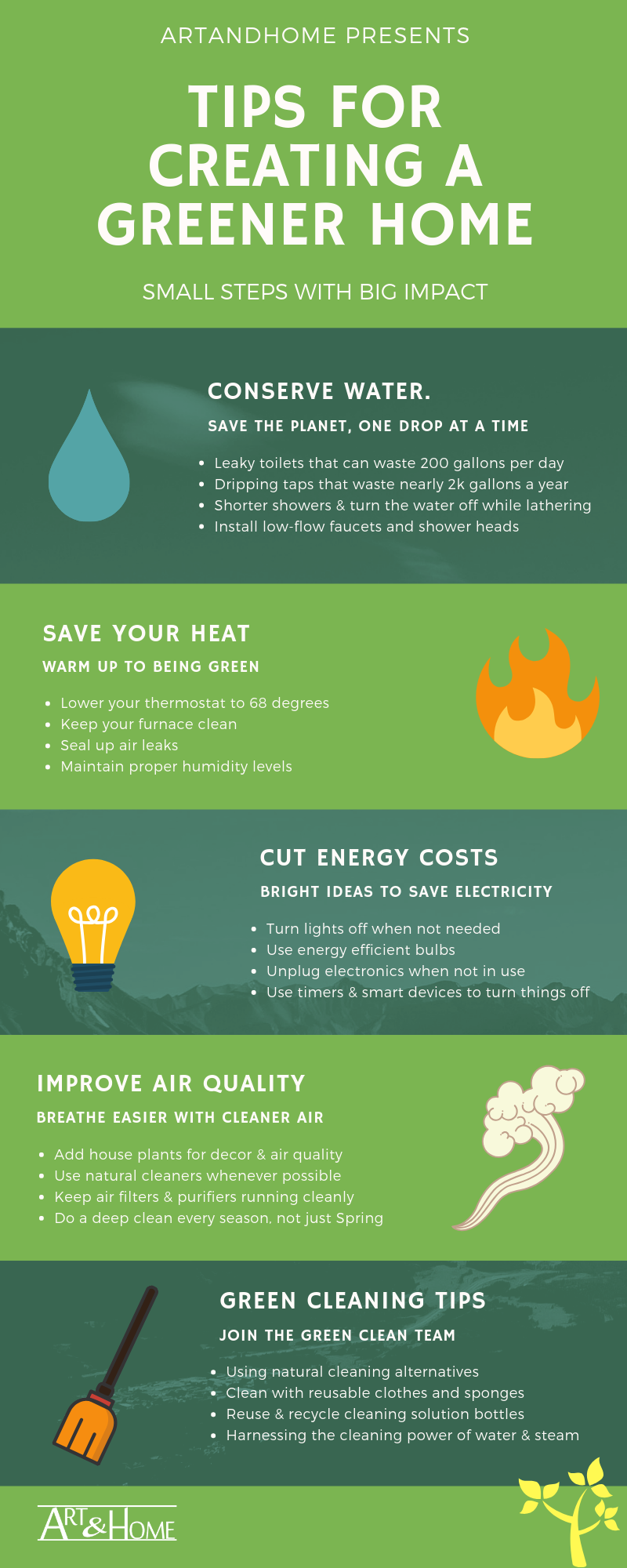Eco Friendly Tips for a Green Home Infographic