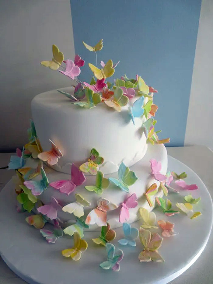 Floating Pastel Butterfly Cake