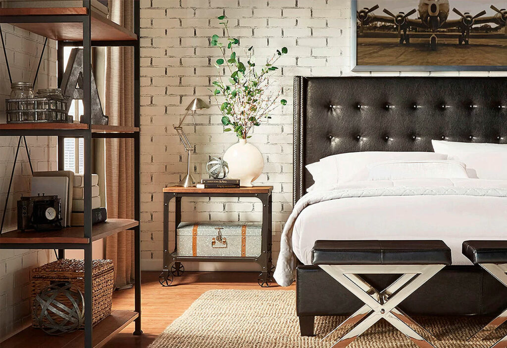 Masculine Bedroom with Exposed Brick and Leather