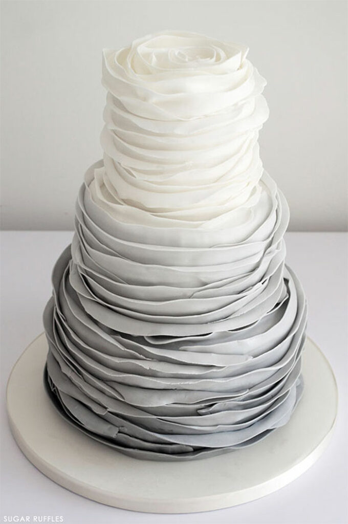 Shades of Gray Sugar Ruffles Cake