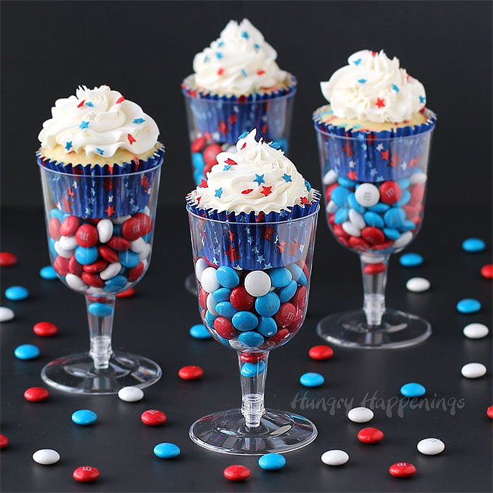 4th of July Cupcakes in a Wine Glass