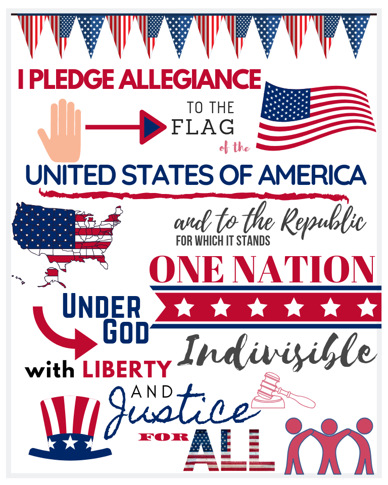 4th of July PLEDGE of ALLEGIANCE Printable
