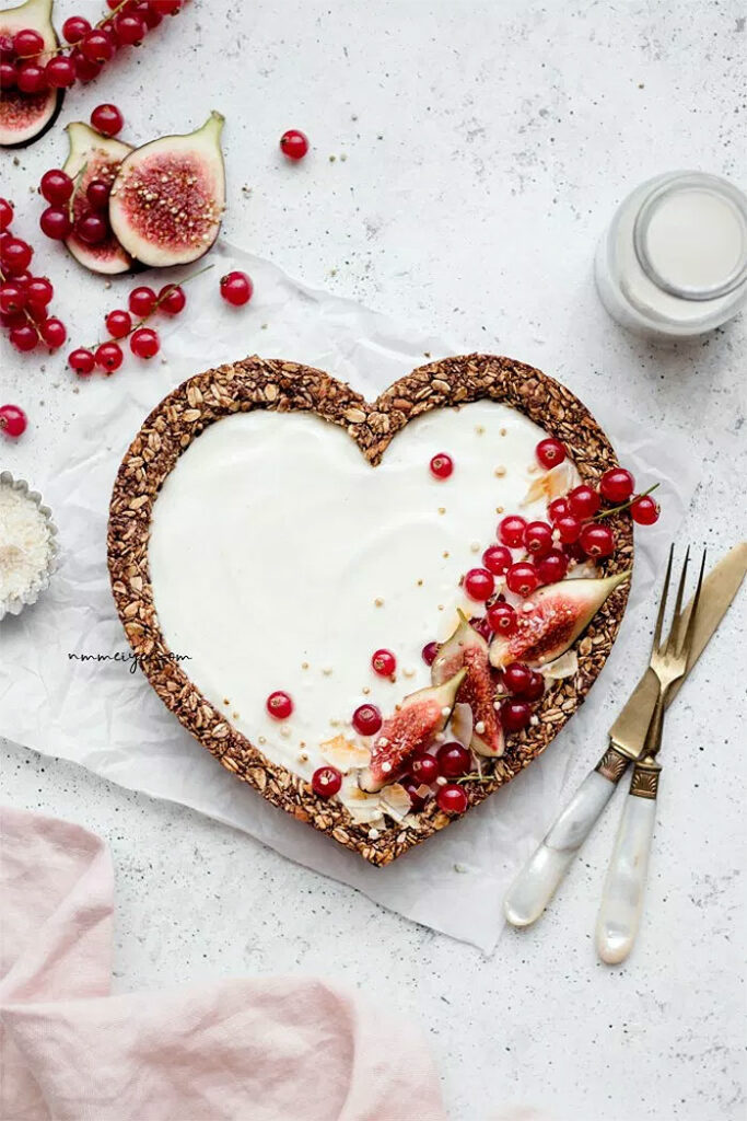 Coconut Granola Heart-Shaped Tart