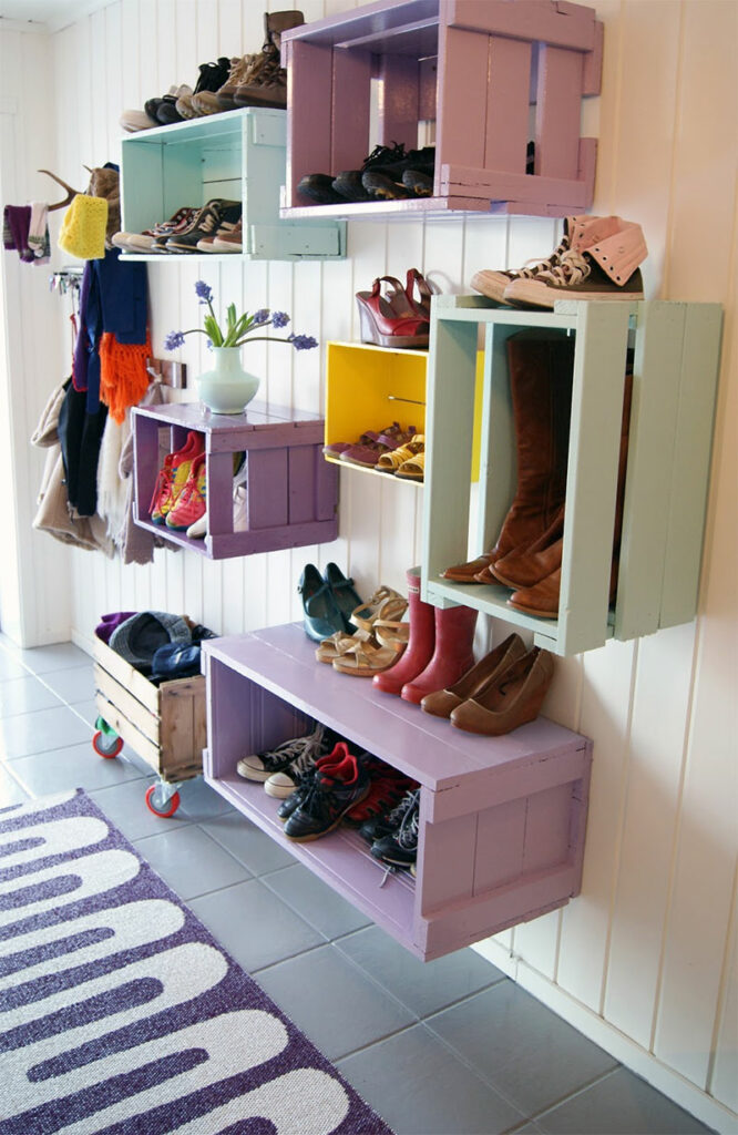 Colorful Wooden Crate Shoe Shelves