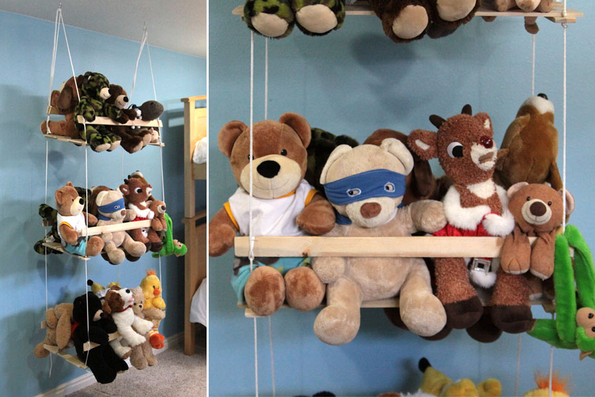 DIY Hanging Stuffed Animal Storage