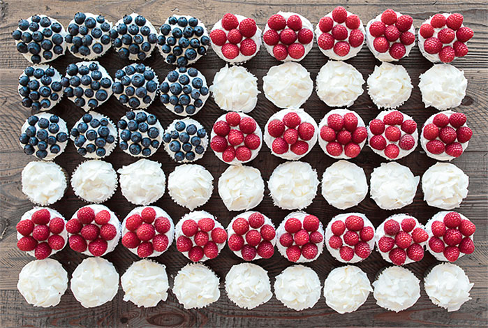 Fruit Flag Fourth of July Cupcakes
