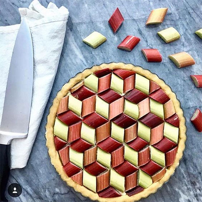 Geometric Rhubarb Pie