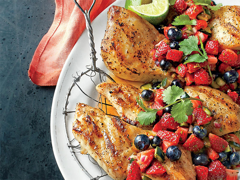 Grilled Triggerfish with Strawberry-Blueberry Relish