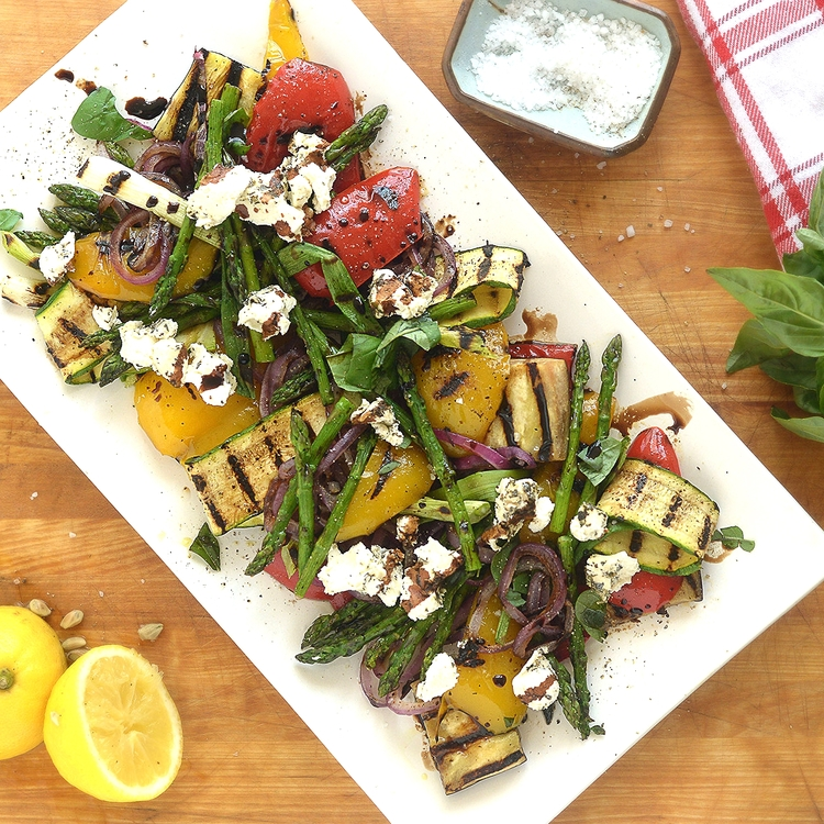 Grilled Vegetables with Goat Cheese & Reduced Balsamic Vinegar
