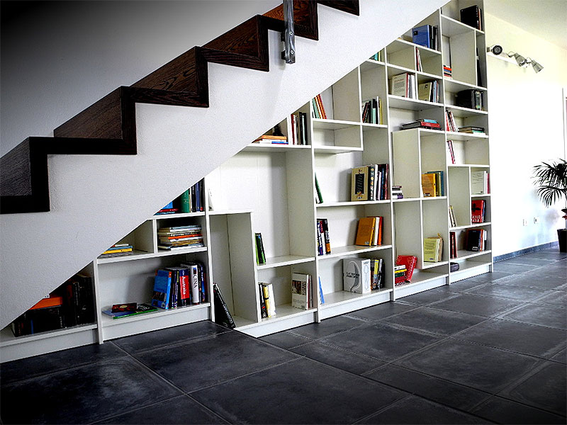 IKEA Hack Under Stairs Book Shelves