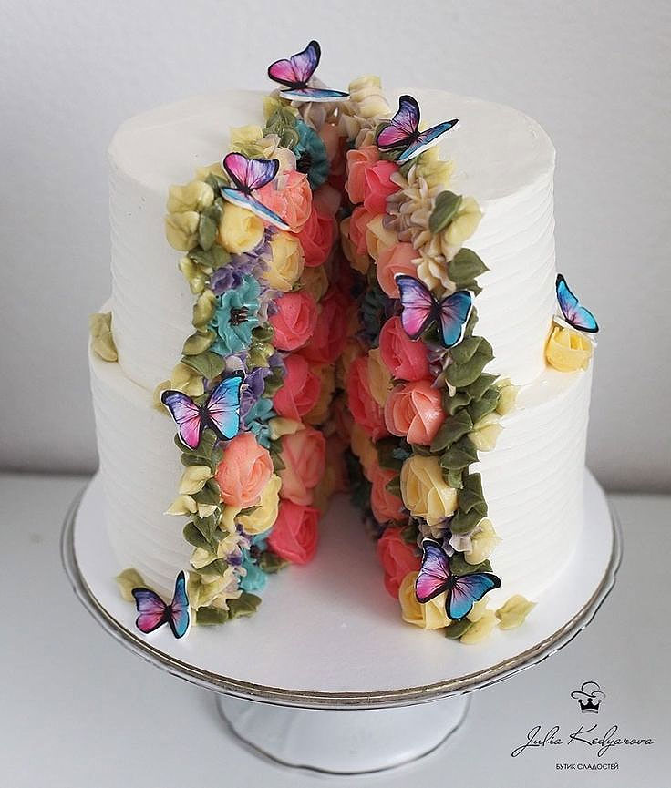 Split Open Floral Butterfly Cake