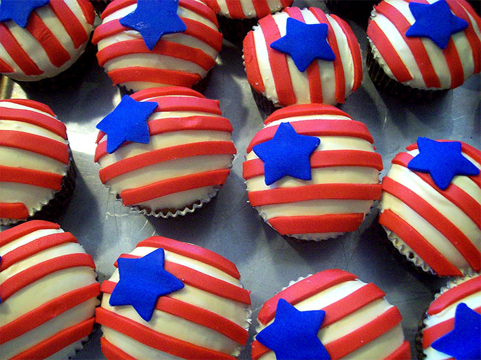 Stars and Stripes Fourth of July Cupcakes