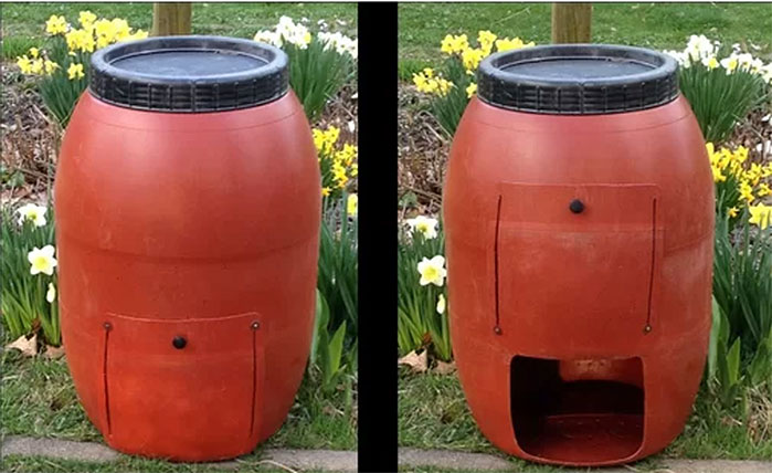 Upcycle Red Barrel Compost Bin
