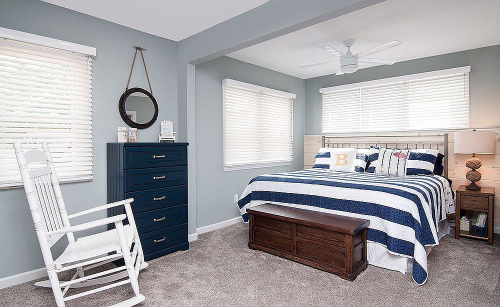 Beach Style Blue & White Bedroom