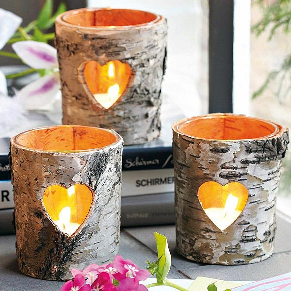 Birch Bark Hearts DIY Votive Candle Holders