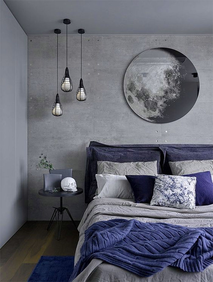 Infusing Blue and Gray in an Industrial Bedroom