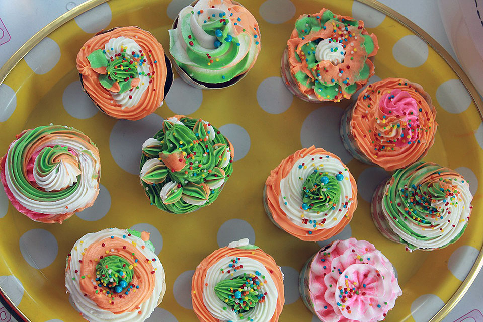 Colorful Garden Cupcakes