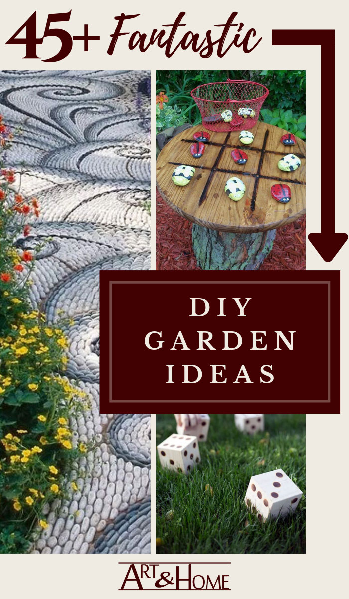 Looking for DIY Backyard Ideas?  Art & Home has curated a collection of  45 of the very best DIY projects for your backyard, patio, or garden.