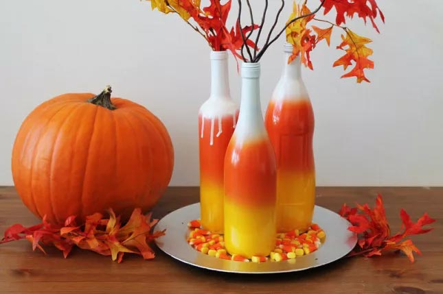 DIY Candy Corn Ombre Wine Bottles