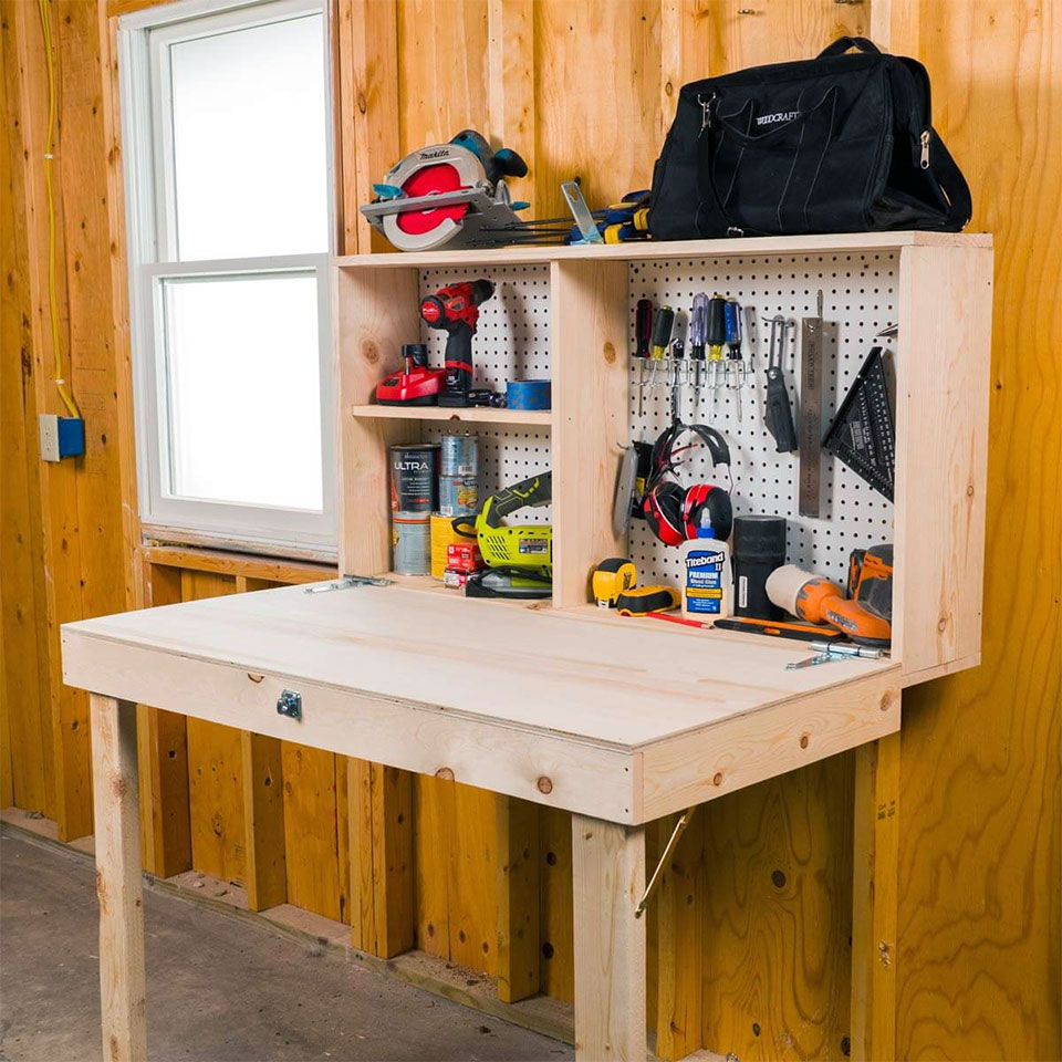 DIY Fold Up Storage Garage Workbench