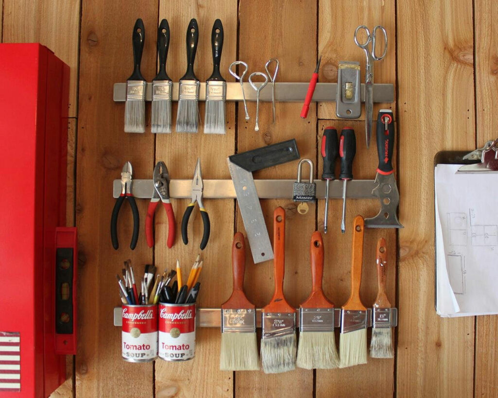DIY Garage Organization Magnetic Strips