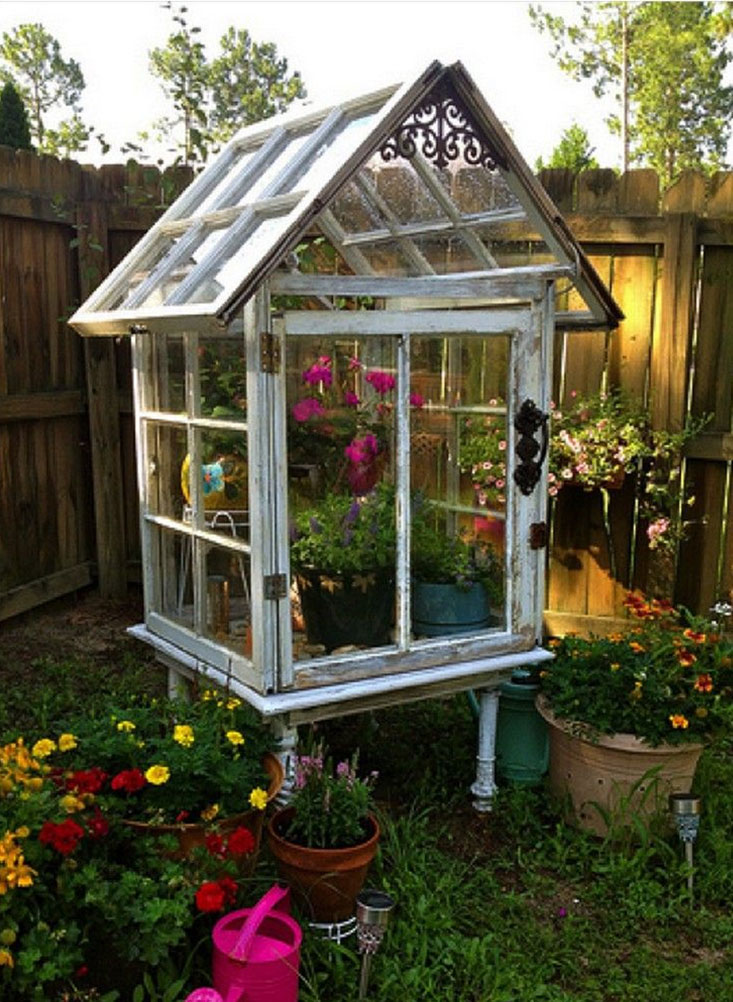 DIY Greenhouse from Old Windows and Table