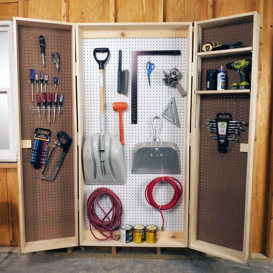 DIY Garage Hacks |  Lockable Pegboard Cabinet