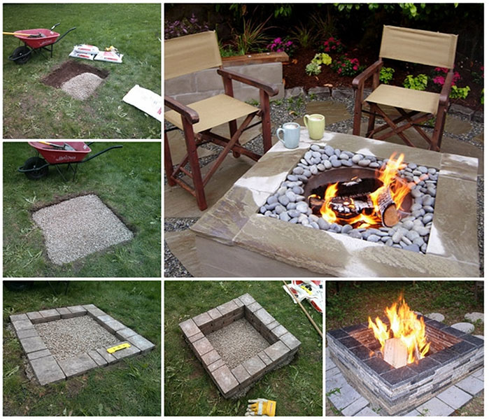 DIY Garden Projects & Ideas | Square Fire Pit Table