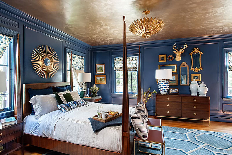 Decadent Blue & Gold Bedroom