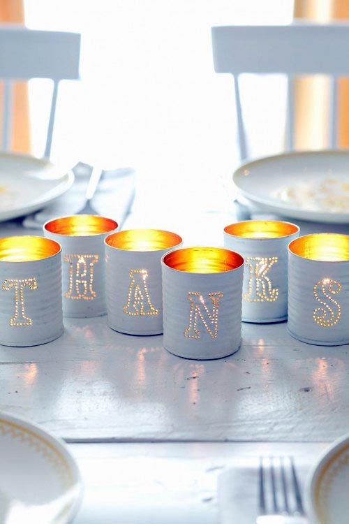 Easy Punched Tin Can Candle Holders