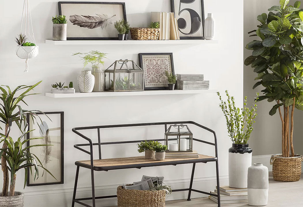 Industrial Foyer Design with Floating Shelves