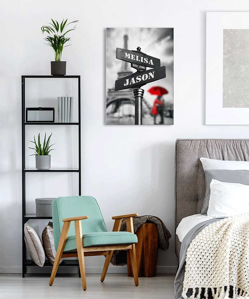 Love Crossing Personalized Street Names Canvas Couple Art Print