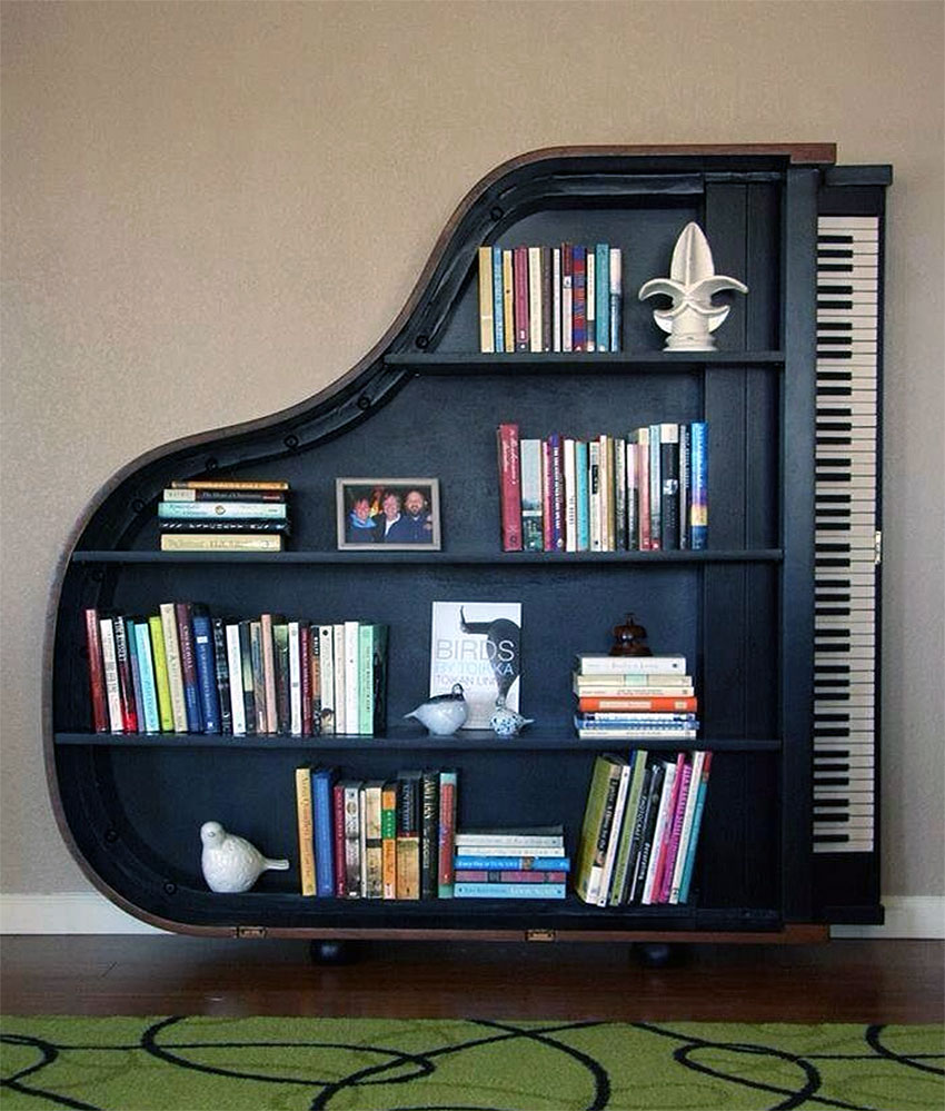 Old Grand Piano Re-purposed as Book Shelf