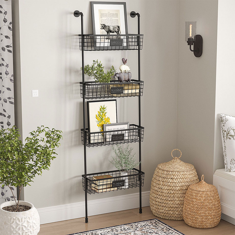 Oronoco Industrial Wall Shelf with Baskets