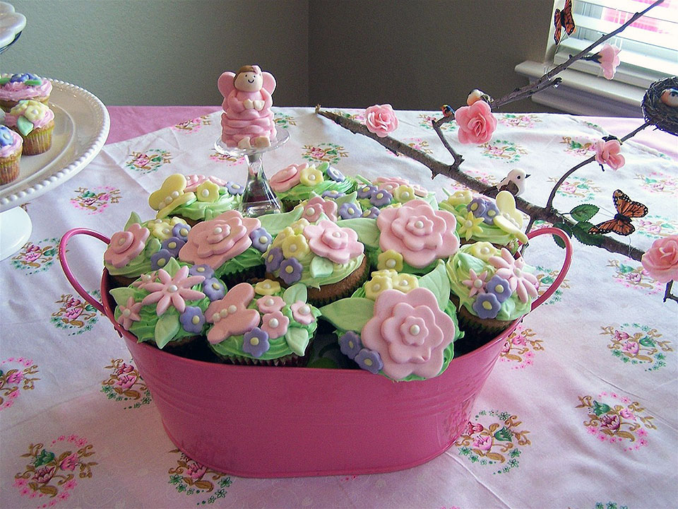 Pink Bucket of Cupcake Flowers