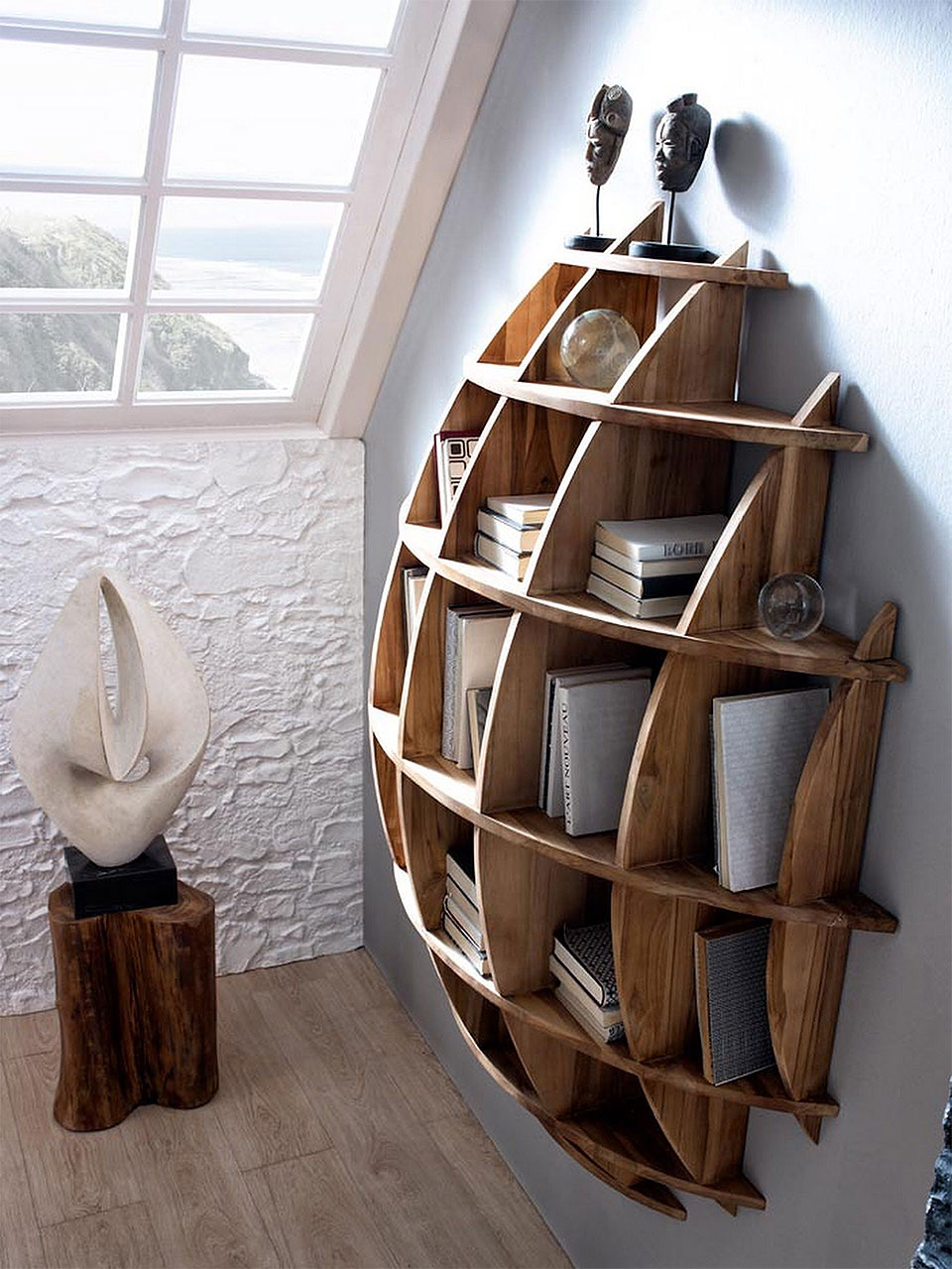Rounded Wall Mounted Book Shelf