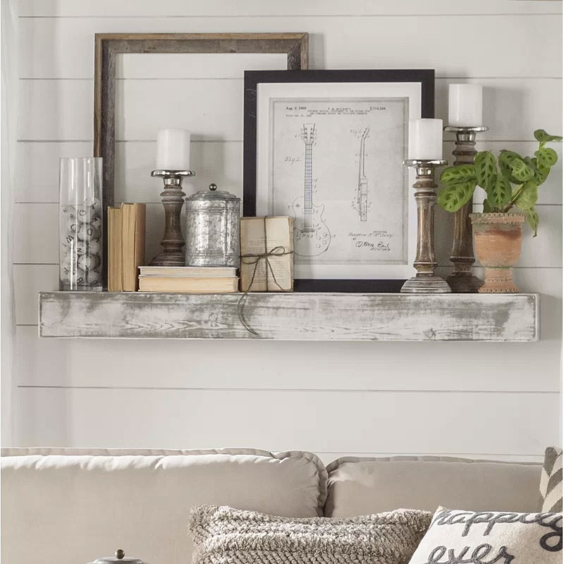 Shabby White Solid Wood Rustic Style Floating Shelf