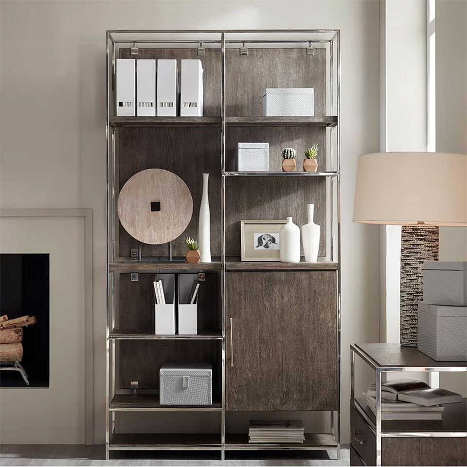 Storia Metal and Oak Bookcase