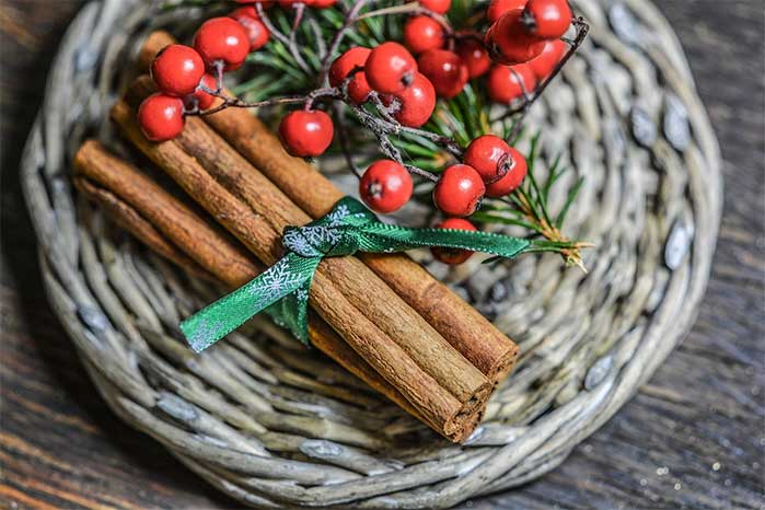 Wrapped Cinnamon Sticks and Berries on a Rustic Plate