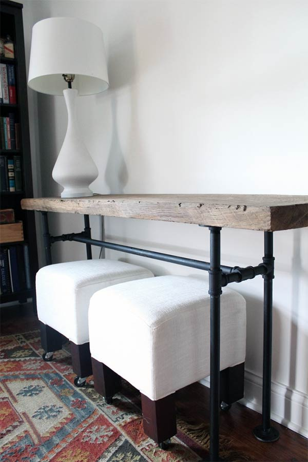 DIY Rustic Industrial Pipe Console Table